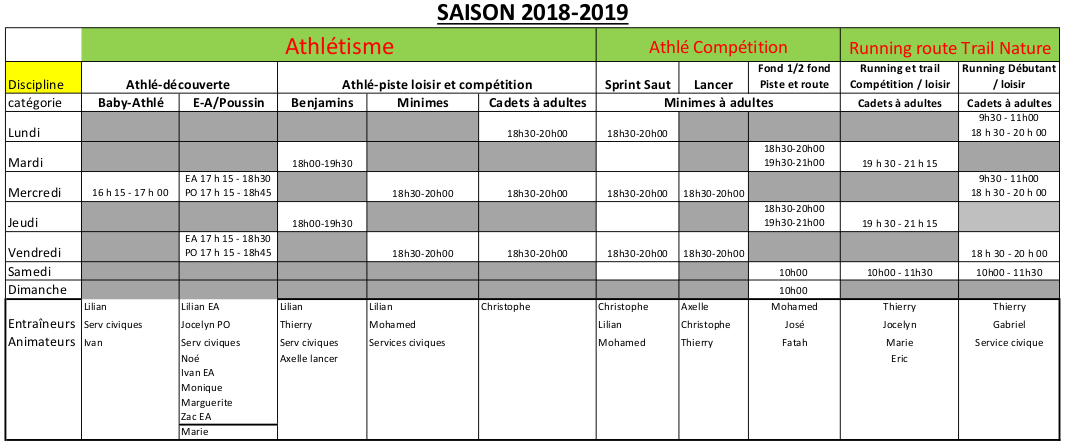 horaires 2018 2019 2
