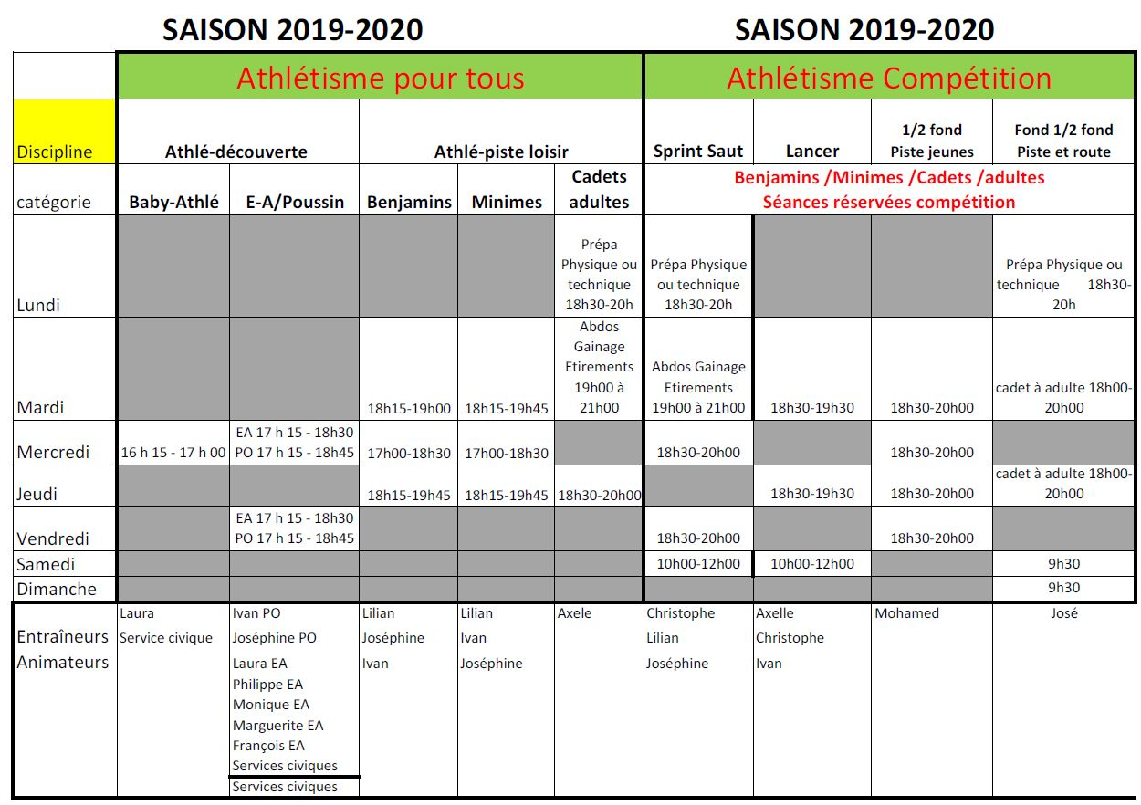 horaires athle 2019