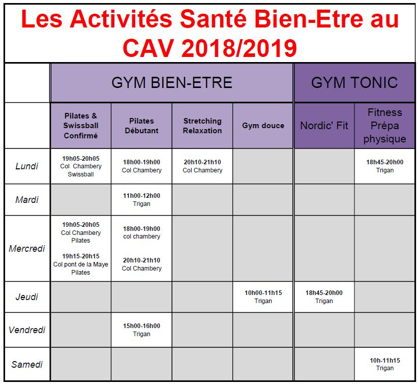 Horaires gym 2018